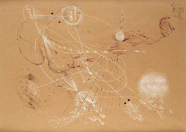 Nikolaus Gansterer, Denkfigur (Figure of Thought ) 13-101, 2013 chalk, pencil and ink on paper, 80 x 60 cm
