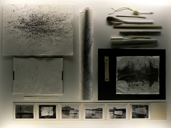 Installation view, Traces of Spaces, Detail, water drawings, 2010/11