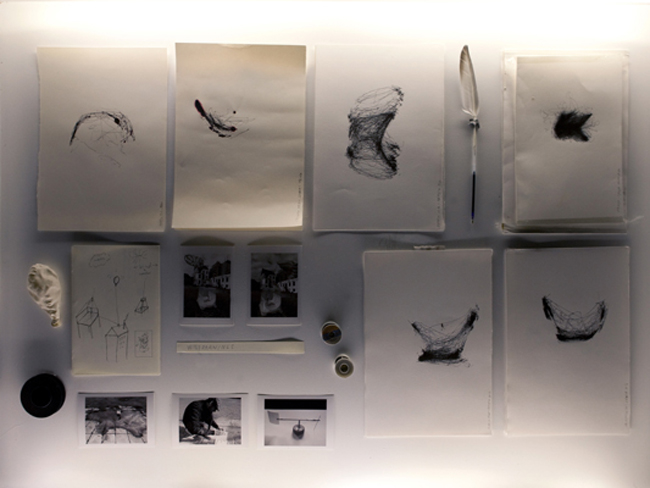 Installation view, Traces of Spaces, detail, wind drawings, 2010/11