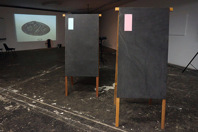 Nikolaus Gansterer, Translectures on Transluciferation, 2014, at Pivo Gallery, Sao Paulo, Brazil