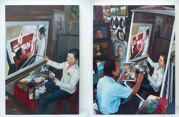 Painting #03 (150x100cm) by Chen Yi;   Painting #04 (75x100cm) by Huang Wei Ching