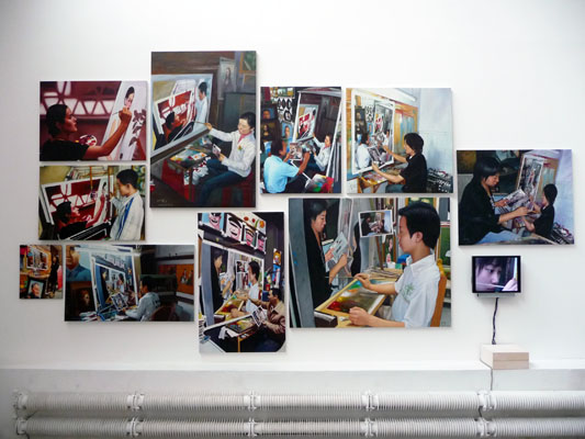 Installation view, 10 oilpaintings + video, 2009,  Anni Art Gallery, Beijing (520x340 cm)