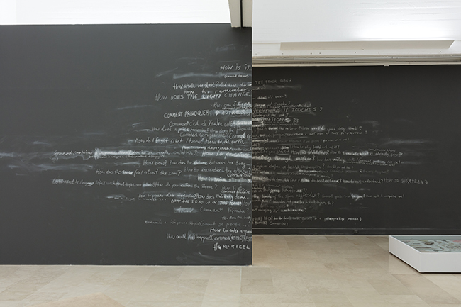 Nikolaus Gansterer et al., Wall of How-ness, 2018, installation view: Con-notations, Villa Arson, Nice, 2018