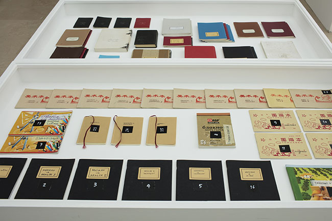 Nikolaus Gansterer, Am Zug / Training, (since 2002), sketchbooks, detail, installation view: Con-notations, Villa Arson, Nice, 2018