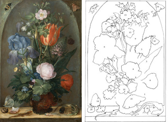 "Roelant Saverij, ""A bouquet in a niche with two lizards and two shells"", (1603)"