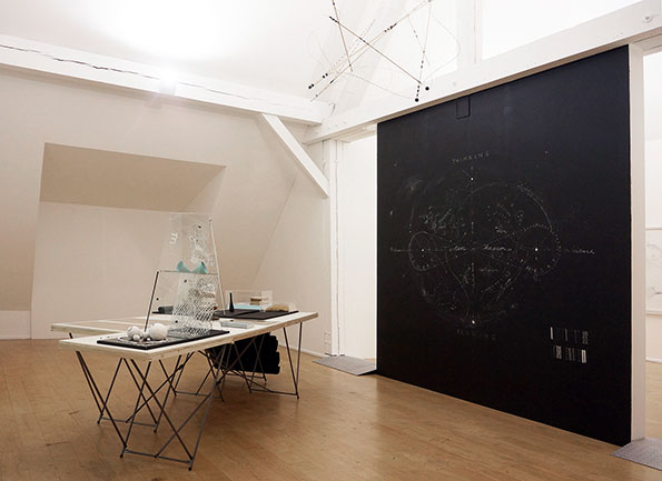 Nikolaus Gansterer, Transpositionsmodell (Theory x Memory x Science x Fiction), 2013/14, installation view: Drawing Room, Ursula Blickle Foundation, Kraichtal/Karlsruhe, Germany