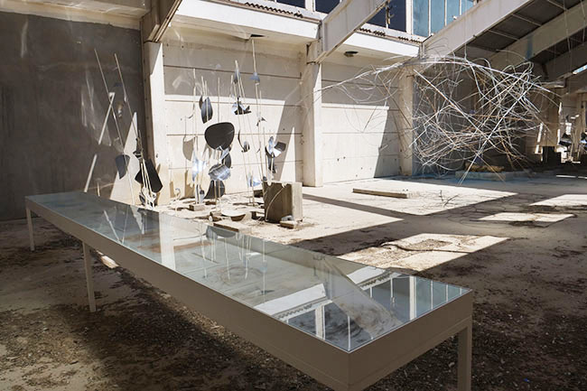 Nikolaus Gansterer, Sympoiesis Obersatory, 2019, sympoiesis diagrams (installation view), 14th Sharjah Biennial, Ice Factory, Kalba, UAE