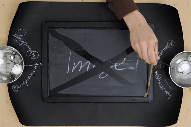 Nikolaus Gansterer, video still from Thinking-Matters-Lecture, 2013, chalk and objects on blackboard
