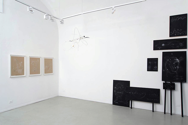 Mobile and various drawings, blackboards, installation view, Gallery Marie-Laure Fleisch, 2013, dimensions variable