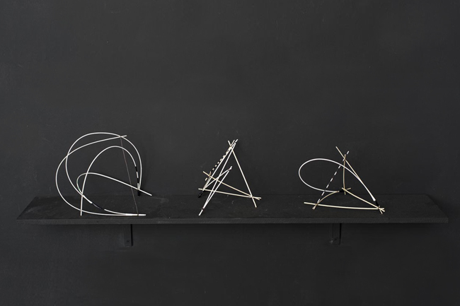 untitled figures, wooden objects, wire, 2013