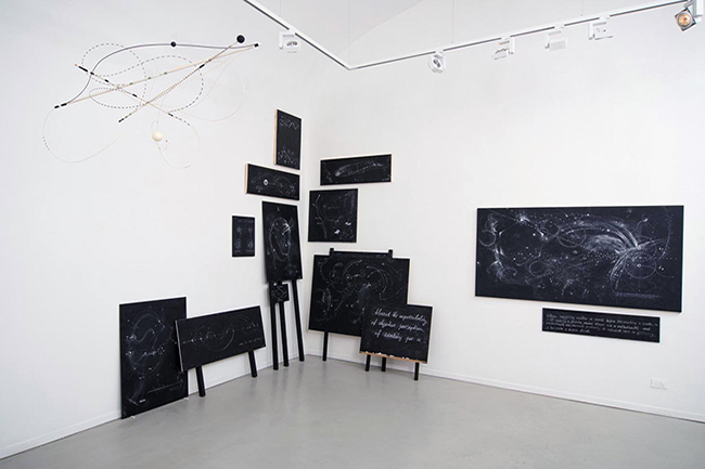 Mobile and  various blackboards, installation view, Gallery Marie-Laure Fleisch, 2013, dimensions  variable