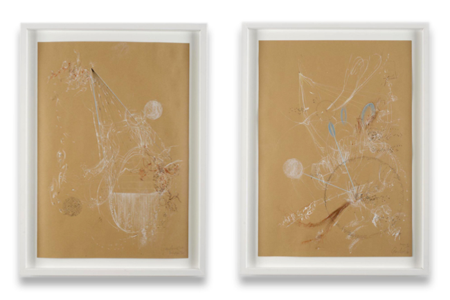 Figures of Thought, drawings on brown paper, 2013