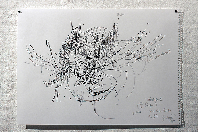 Nikolaus Gansterer, Rehearsing the Third Hand, 2014, a series of 20 drawings, pencil and marker on paper, dimensions variable, courtesy of the artist (Photo: Dario Srbic)