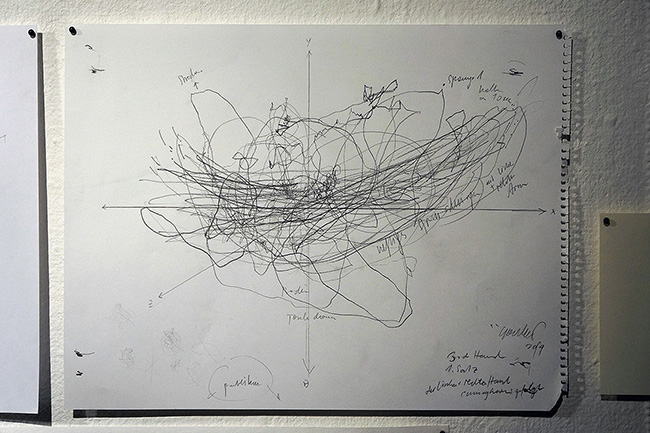 Nikolaus Gansterer, Rehearsing the Third Hand,  2014,  a series of 20 drawings,  pencil and marker on paper,  dimensions variable,  courtesy of the artist (Photo: Nikolaus Gansterer)