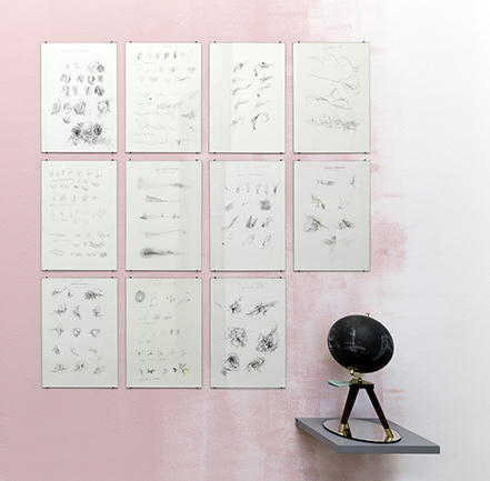 Nikolaus Gansterer, Choreo-graphic Figures Diagrams, at solo show: tracing (in)tangibles, installation views, Gallery Crone, Vienna, 2019