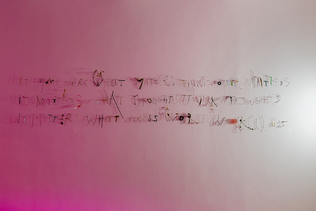 Nikolaus Gansterer, it matters what matters think other matters, it matters what thoughts think thoughts, it matters what words word wor(l)ds, wall work with found objects (after Donna Haraway), 2019